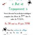 """featured image Les élèves de 3ème exposent dans le cadre du PEAC : """"Art et Engagement"""""""